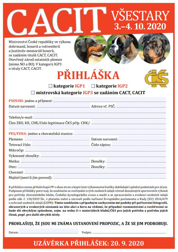 Pozvánka – CACIT Všestary 3. – 4. 10. 2020